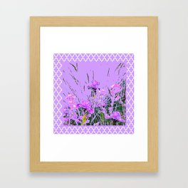 LILAC PURPLE MODERN FLOWERS ABSTRACT Framed Art Print