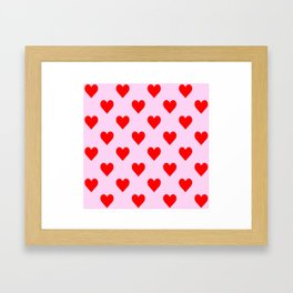 love heart pattern pink and red Framed Art Print