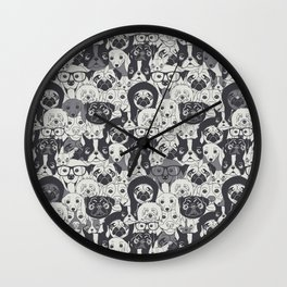 Pattern With Cute Dogs Wall Clock
