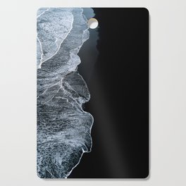 Waves on a black sand beach in iceland - minimalist Landscape Photography Cutting Board