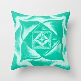Four corners - Balancing square - Aqua green Throw Pillow
