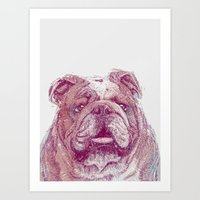 bulldog Art Prints featuring Bulldog by Ahmad Mujib