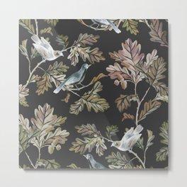 BIRDS ON OAK BRANCHES Metal Print
