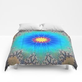 Textured Electric Blues Mandala with Yellow Accent Comforters