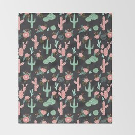 Cactus florals dark charcoal colorful trendy desert southwest house plants cacti succulents pattern Throw Blanket