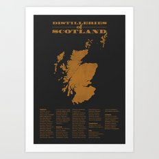Distilleries of Scotland (woodpress) Art Print