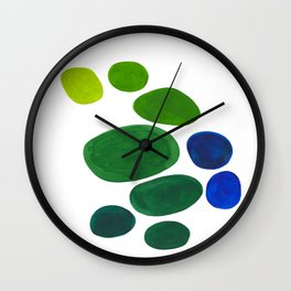 Mid Century Kusama Abstract Minimalist Colorful Pop Art Lime Green Blue Rainbow Ombre Gradient Wall Clock