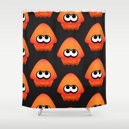 Splatoon Squid Pattern Orange Shower Curtain