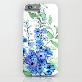 Delphinium Illustration Watercolor Painting iPhone Case