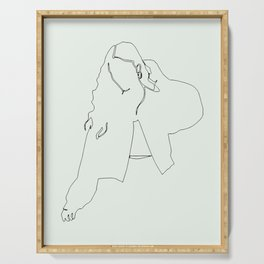 Feeling good in the morning, fashion woman single line drawing, stylish vintage posters set Serving Tray