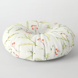Christmas Pine and Berries Crystal Pink Floor Pillow