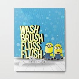 wash brush floss flush Metal Print