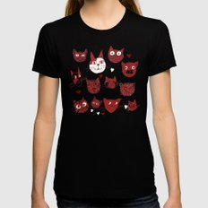 i love cats X-LARGE Black Womens Fitted Tee