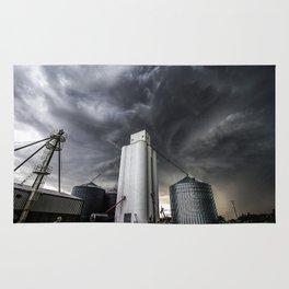 Skyscraper - Storm Over Grain Elevator in Kansas Town Rug