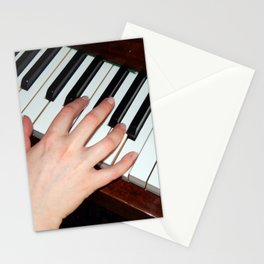 Piano keys hand Stationery Cards