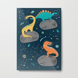 Dinosaurs Floating on an Asteroid Metal Print