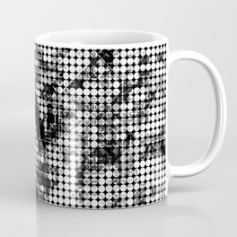 psychedelic circle pattern painting abstract background in black and white Coffee Mug