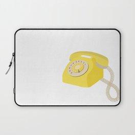 Yellow Vintage Phone // Retro Telephone Illustration Laptop Sleeve