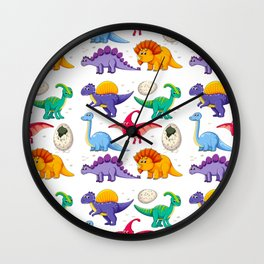 colorful dinosaurs Wall Clock