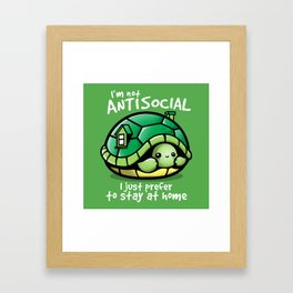 Antisocial turtle just prefer to stay at home Framed Art Print