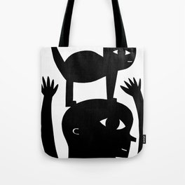 Cat On My Head Tote Bag