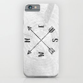 Black and White Wood Grain Compass iPhone Case