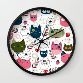 Modern Cat Pattern Wall Clock