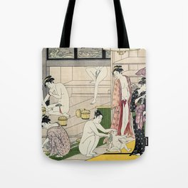 Interior of a Bathhouse by Torii Kiyonaga - Japanese Woodblock Tote Bag