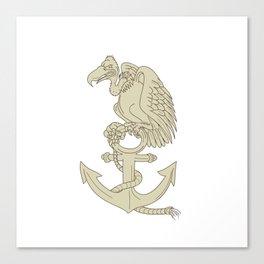 Buzzard Perching Navy Anchor Cartoon Canvas Print