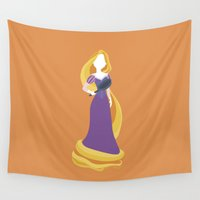 rapunzel Wall Tapestries featuring Princess Rapunzel by Alice Wieckowska
