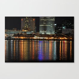 Night View of Waterside and Norfolk Harbor Canvas Print