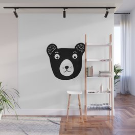 Cute black and white bear illustration Wall Mural