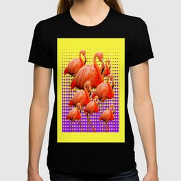 Bright Yellow-purple Optical Art Flamingo Flock Wading. T-shirt