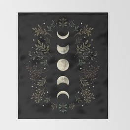 Moonlight Garden - Olive Green Throw Blanket