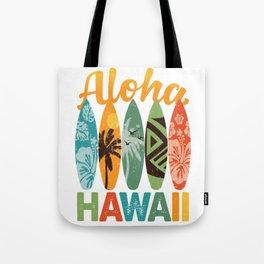 Retro Hawaiian Surfboard Aloha Hawaii Tote Bag