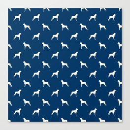 Boxer dog breed pattern dog gifts navy and white minimal dog silhouette Canvas Print