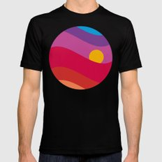 Pink Sunset Black Mens Fitted Tee SMALL