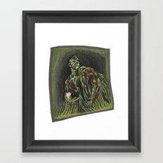 Swamp Thing on a lunch break Framed Art Print