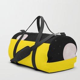 Black night with stars, moon, and yellow sea Duffle Bag