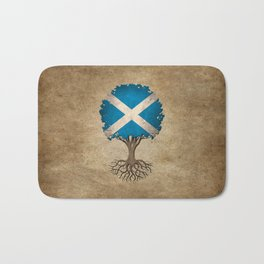 Vintage Tree of Life with Flag of Scotland Bath Mat