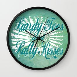 Sandy Toes and Salty Kisses with Nautilus Shell Graphic Design Wall Clock
