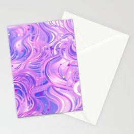 Pink & Purple Waves in the Stars Stationery Cards
