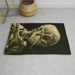 Skull of a Skeleton with Burning Cigarette by Vincent van Gogh Rug