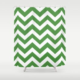May green - green color - Zigzag Chevron Pattern Shower Curtain