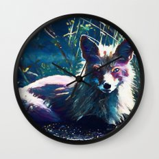 Night Fox Painting Wall Clock