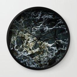 BLACK MARBLE ROCK WITH QUARTZ Wall Clock
