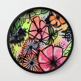 NeonFlowers Wall Clock