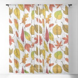 Autumn leaves on white Sheer Curtain