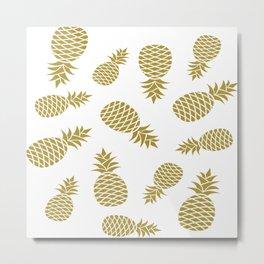 Golden pineapple pattern Metal Print