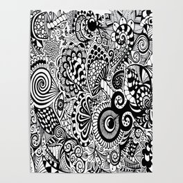 Mushy Madness doodle art Black and White Poster